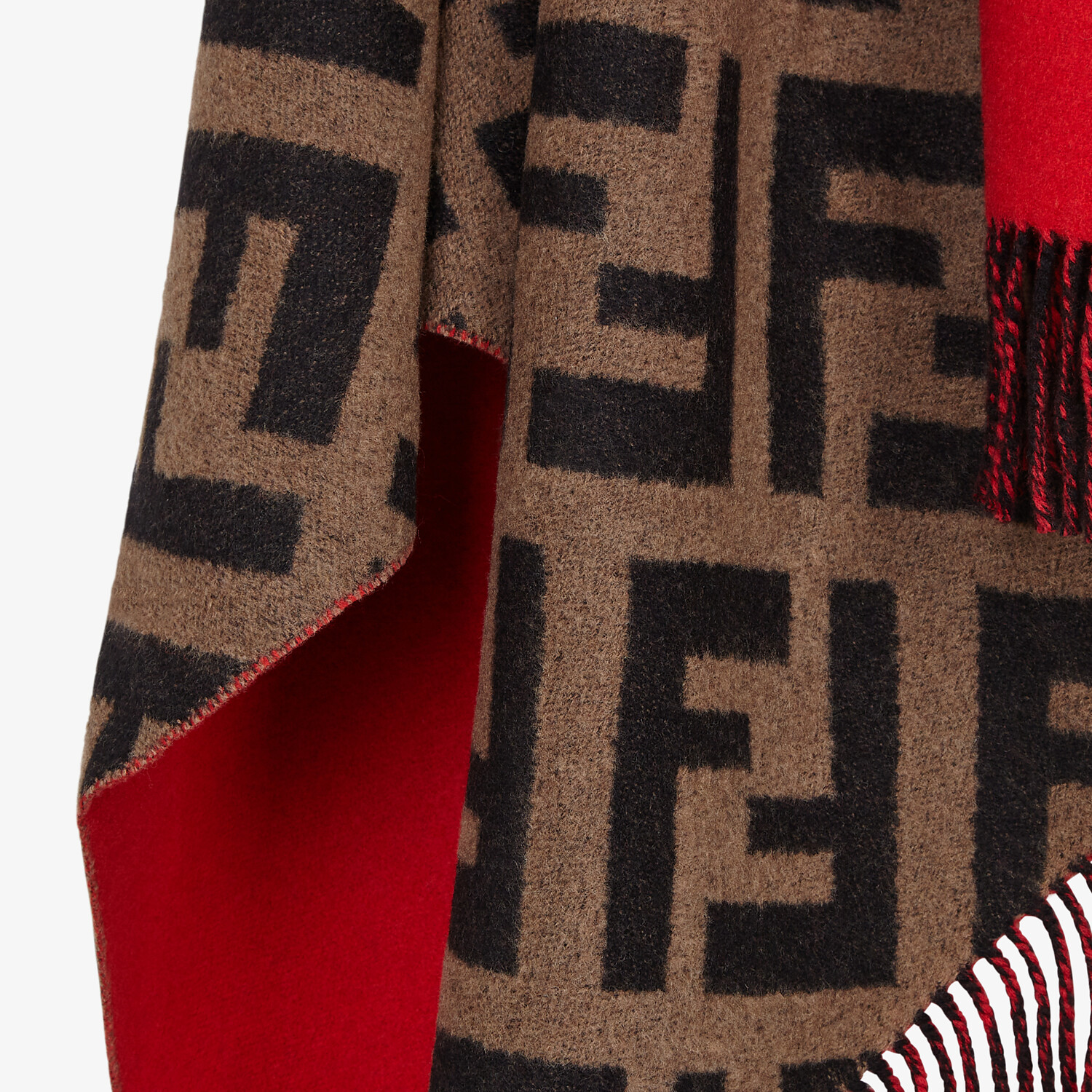 FENDI PONCHO - Multicolour wool and cashmere poncho - view 3 detail