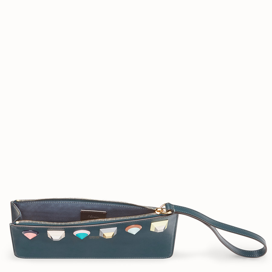 FENDI FLAT CLUTCH - Green leather pochette - view 4 detail