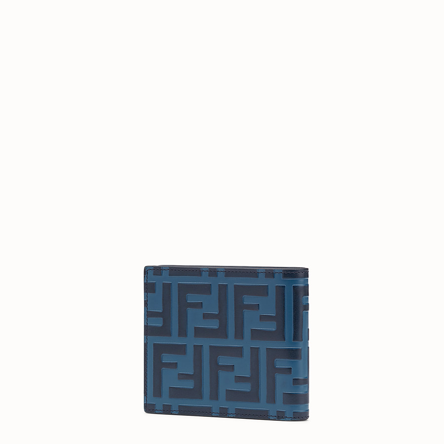 FENDI WALLET - Blue leather bi-fold wallet - view 2 detail
