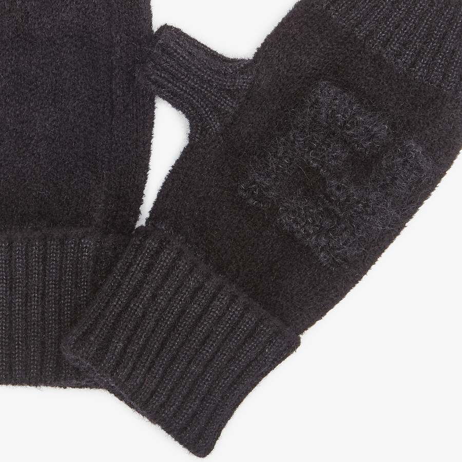 FENDI GLOVES - Black knit cuff - view 2 detail