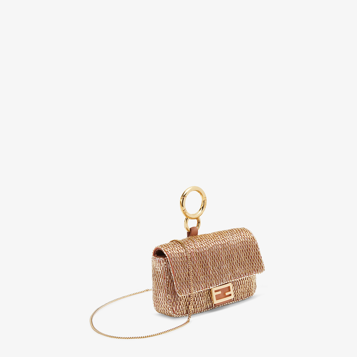 FENDI NANO BAGUETTE - Brown leather charm - view 2 detail