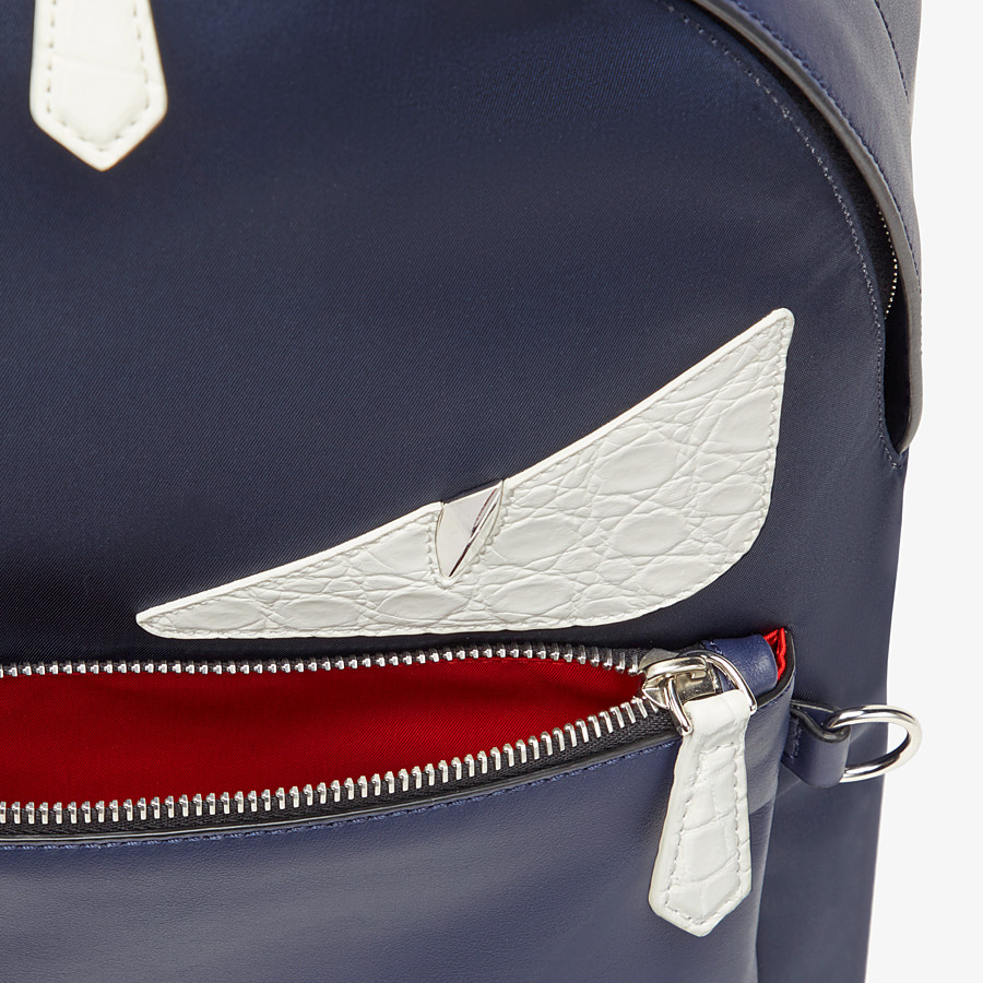 FENDI BACKPACK - Blue nylon and leather backpack - view 4 detail
