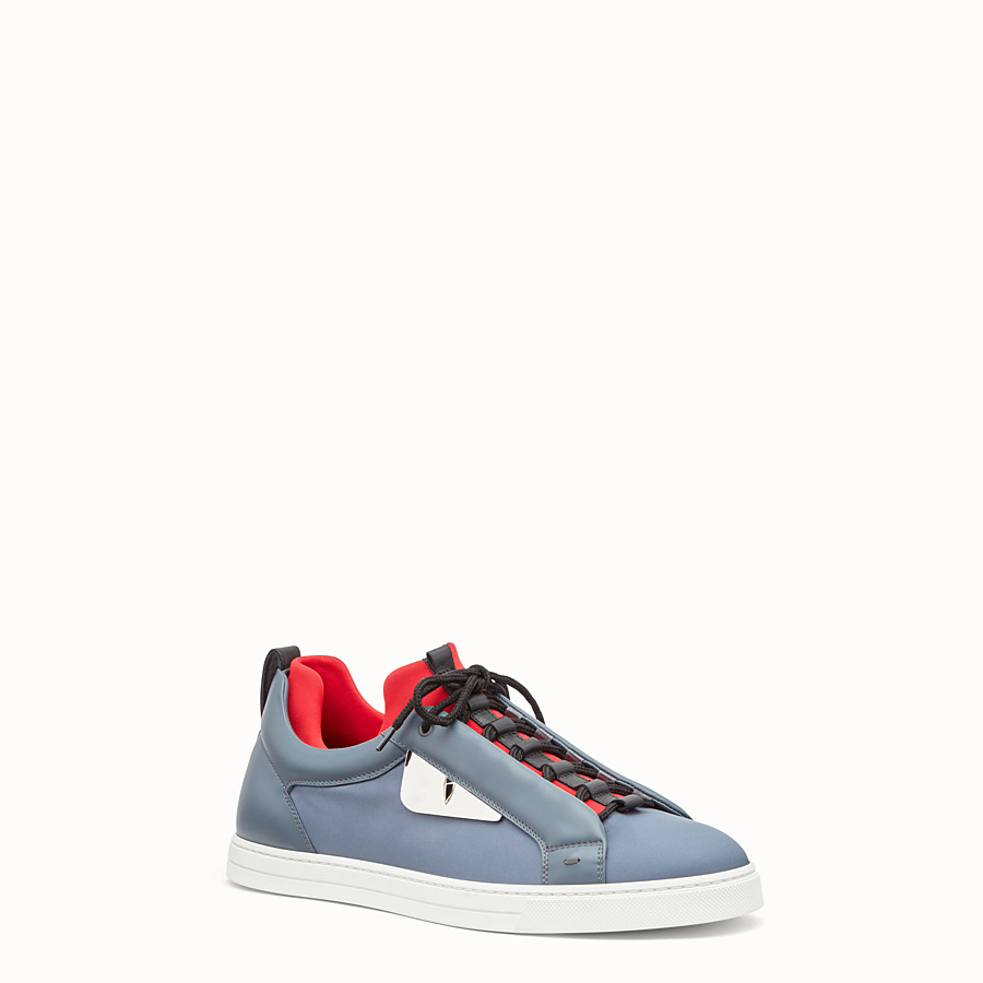 FENDI SNEAKER - Light blue leather and nylon lace-ups - view 2 detail