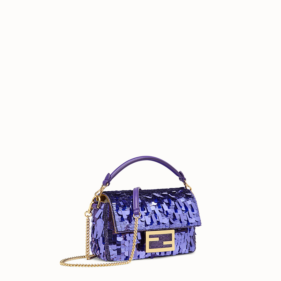 FENDI MINI BAGUETTE - Purple sequin minibag - view 3 detail