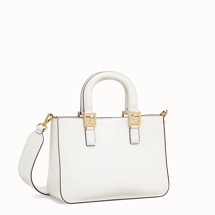 FENDI FF TOTE SMALL - White leather bag - view 2 detail