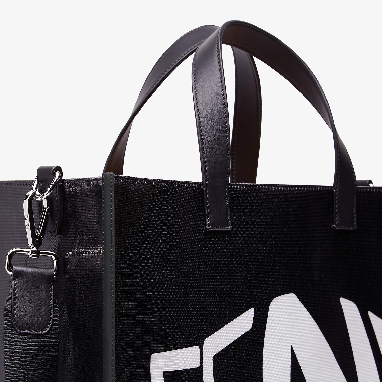 FENDI SHOPPER - Black glazed canvas bag - view 5 detail