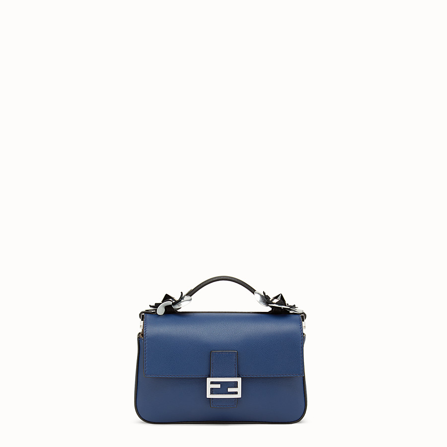 FENDI DOUBLE MICRO BAGUETTE - Microbag in black and blue leather - view 3 detail