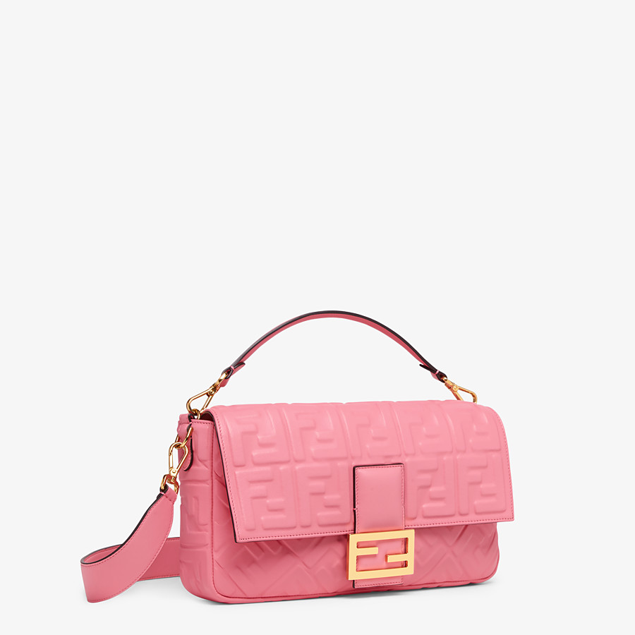 FENDI BAGUETTE LARGE - Pink leather bag - view 3 detail