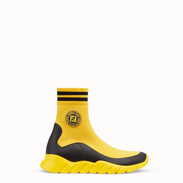 FENDI SNEAKER - High top in tessuto tecnico giallo - vista 1 thumbnail piccola