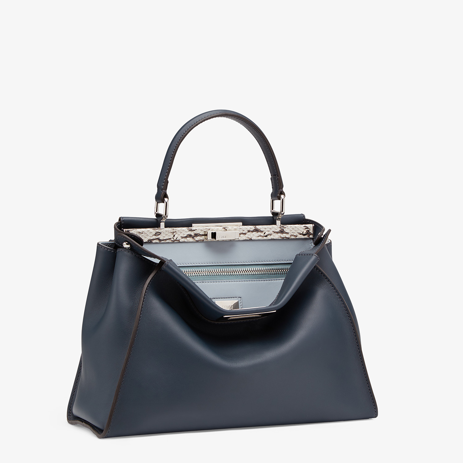 FENDI PEEKABOO ICONIC MEDIUM - Blue leather bag with exotic details - view 2 detail
