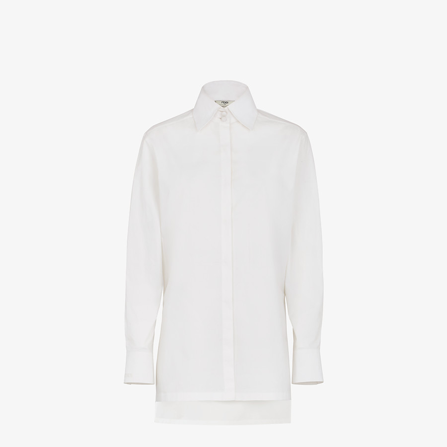 FENDI SHIRT - White cotton taffeta shirt - view 1 detail