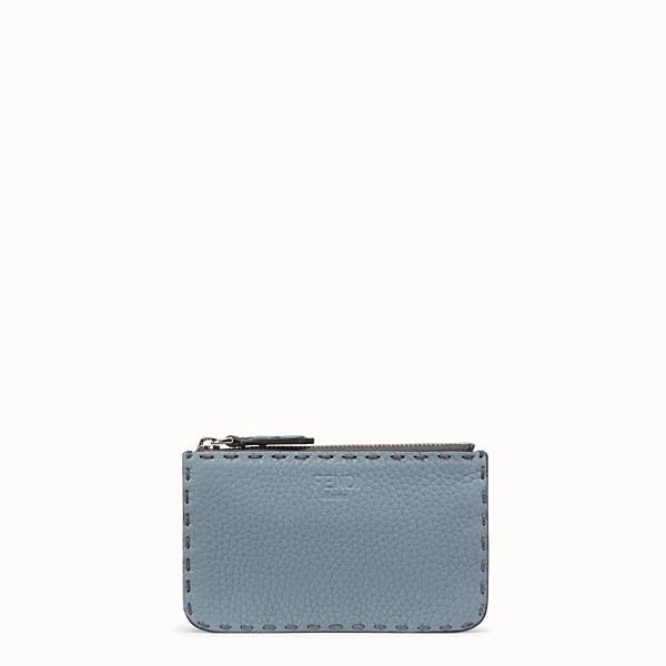 FENDI KEY RING - Pale blue leather pouch - view 1 small thumbnail