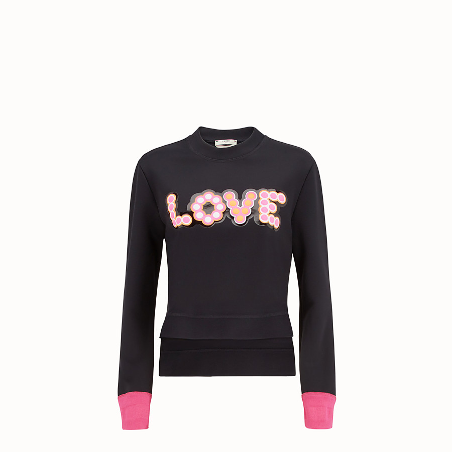 FENDI SWEATSHIRT - Black fabric sweatshirt - view 1 detail