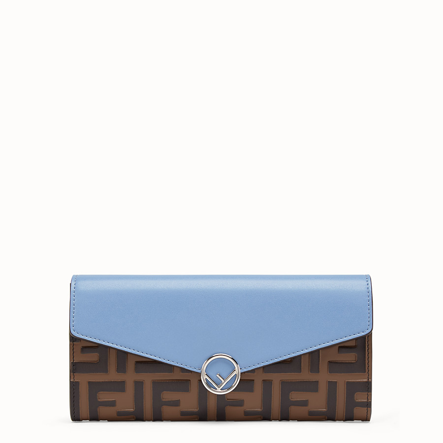 FENDI CONTINENTAL - Pale blue leather wallet - view 1 detail
