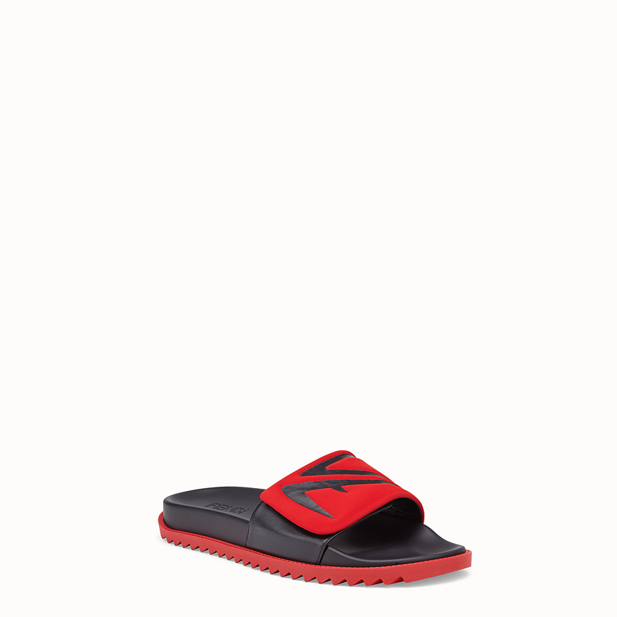 FENDI SLIDES - Red leather and scuba slides - view 2 detail