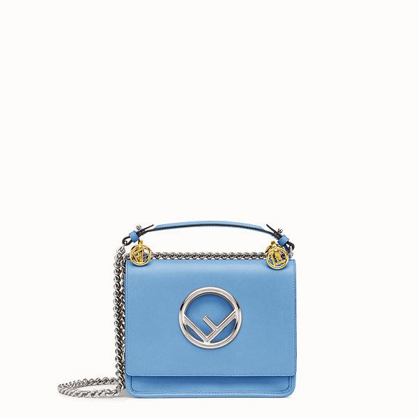 FENDI KAN I F SMALL - Light blue leather mini-bag - view 1 small thumbnail