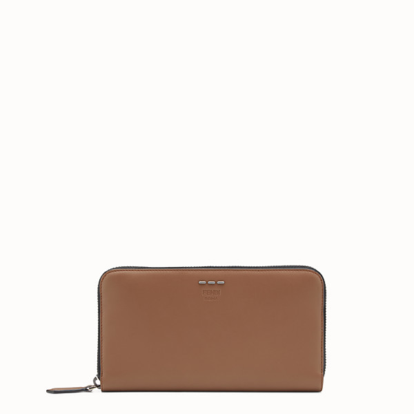 FENDI WALLET - Mocha-coloured leather zip-around wallet - view 1 small thumbnail