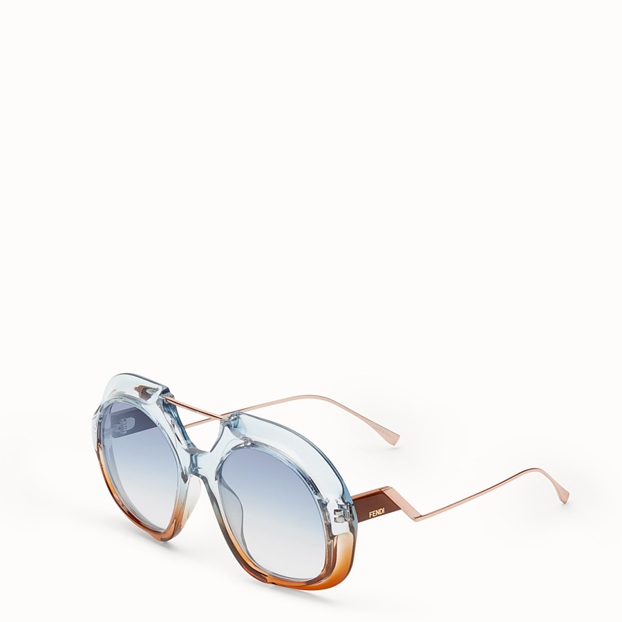 FENDI TROPICAL SHINE - Blue and brown sunglasses - view 2 detail
