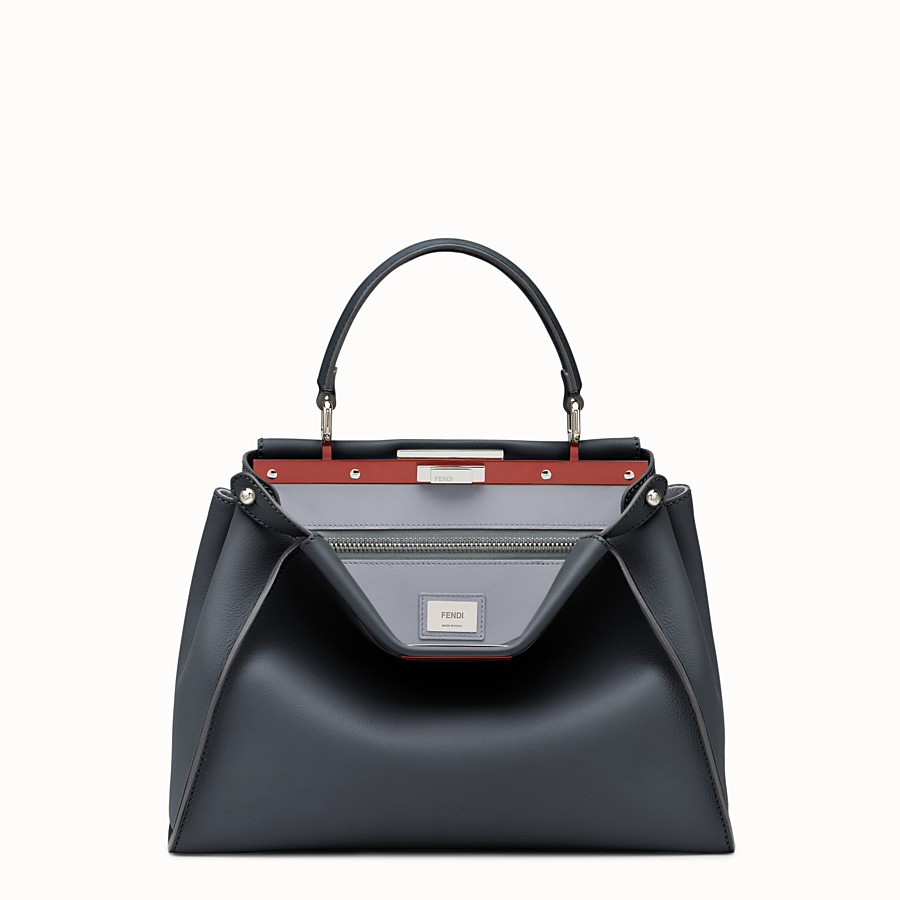 FENDI PEEKABOO REGULAR - Midnight-blue leather handbag - view 1 detail