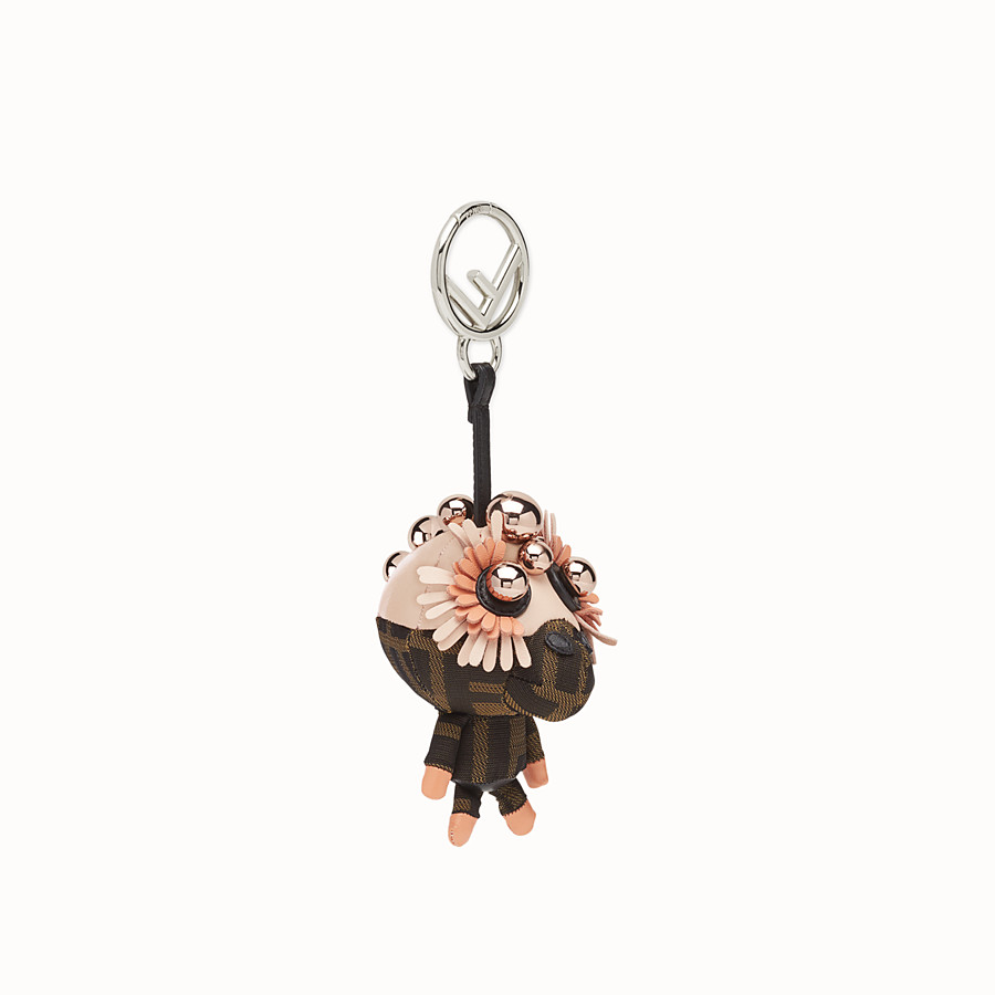 FENDI SPACE MONKEY - Multicolour leather and jacquard charm - view 1 detail