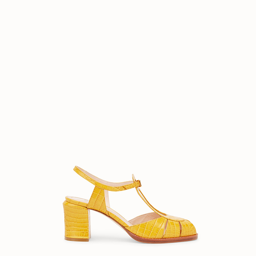 FENDI SANDALS - Yellow leather sandals - view 1 detail