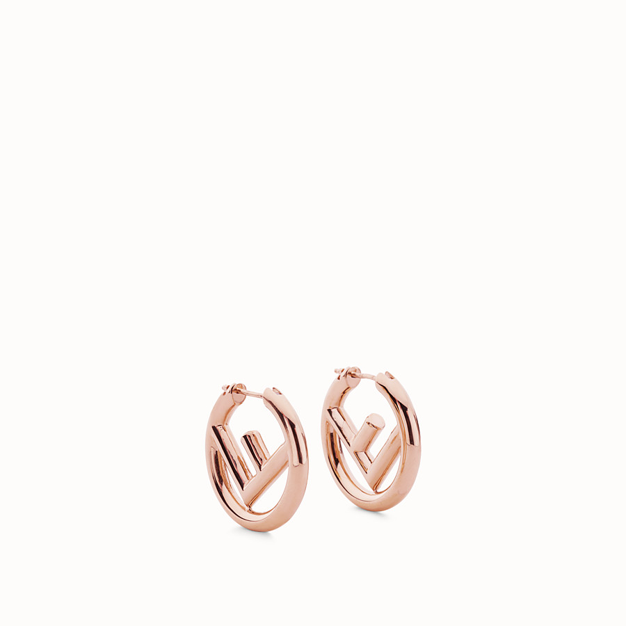 FENDI BOUCLES D'OREILLES F IS FENDI - Boucles d'oreilles couleur or rose - view 1 detail