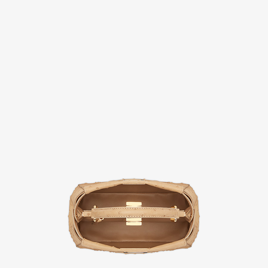 FENDI PEEKABOO ICONIC MINI - Brown ostrich bag - view 4 detail