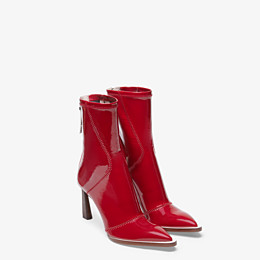 FENDI ANKLE BOOTS - Glossy red neoprene low ankle boots - view 4 thumbnail