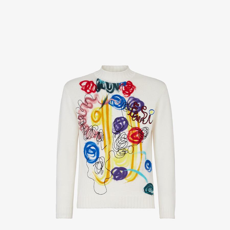 FENDI TURTLENECK - White wool sweater - view 1 detail