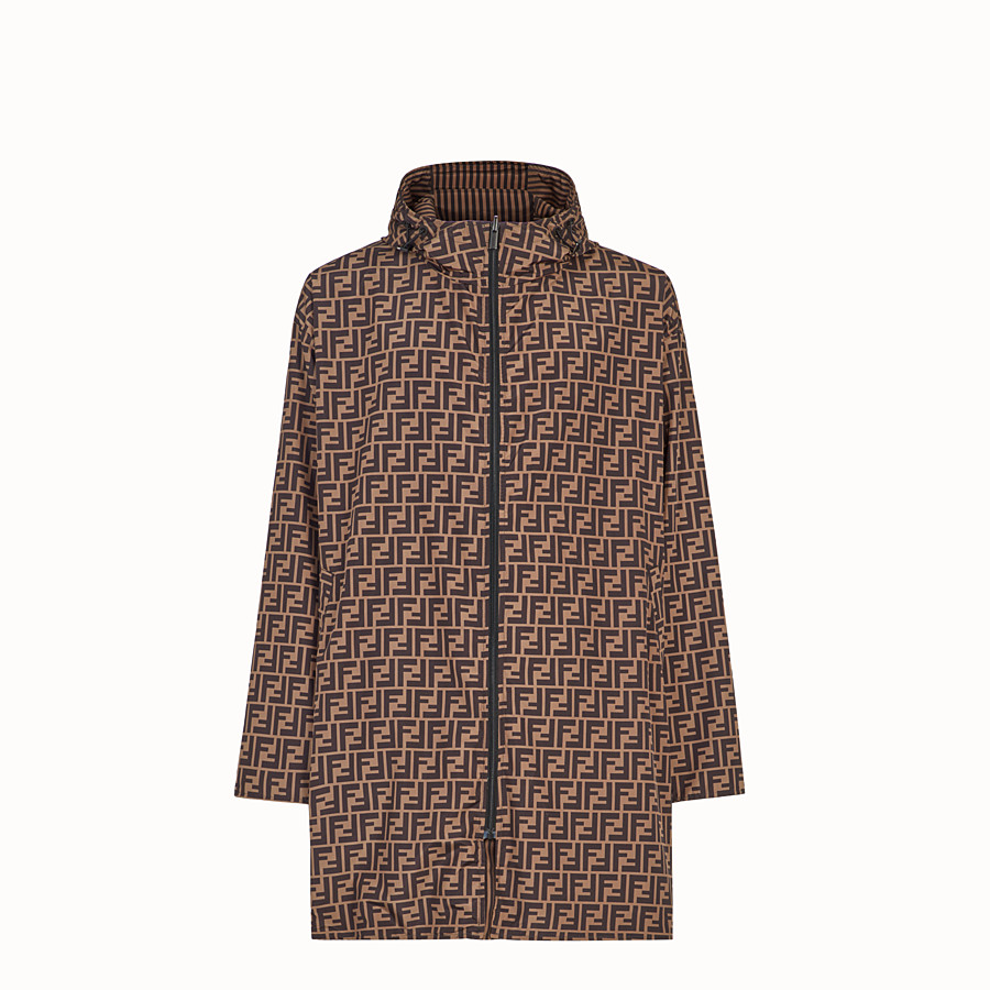 FENDI WINDBREAKER - Brown tech fabric parka - view 1 detail