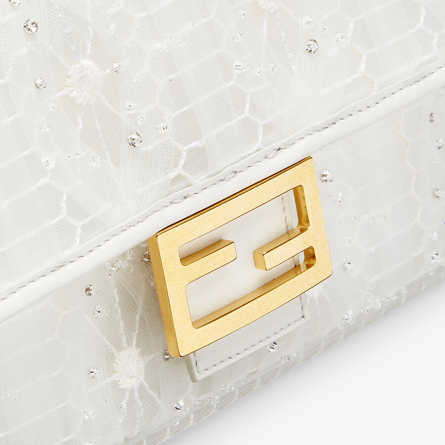 FENDI BAGUETTE - Embroidered white tulle bag - view 5 detail