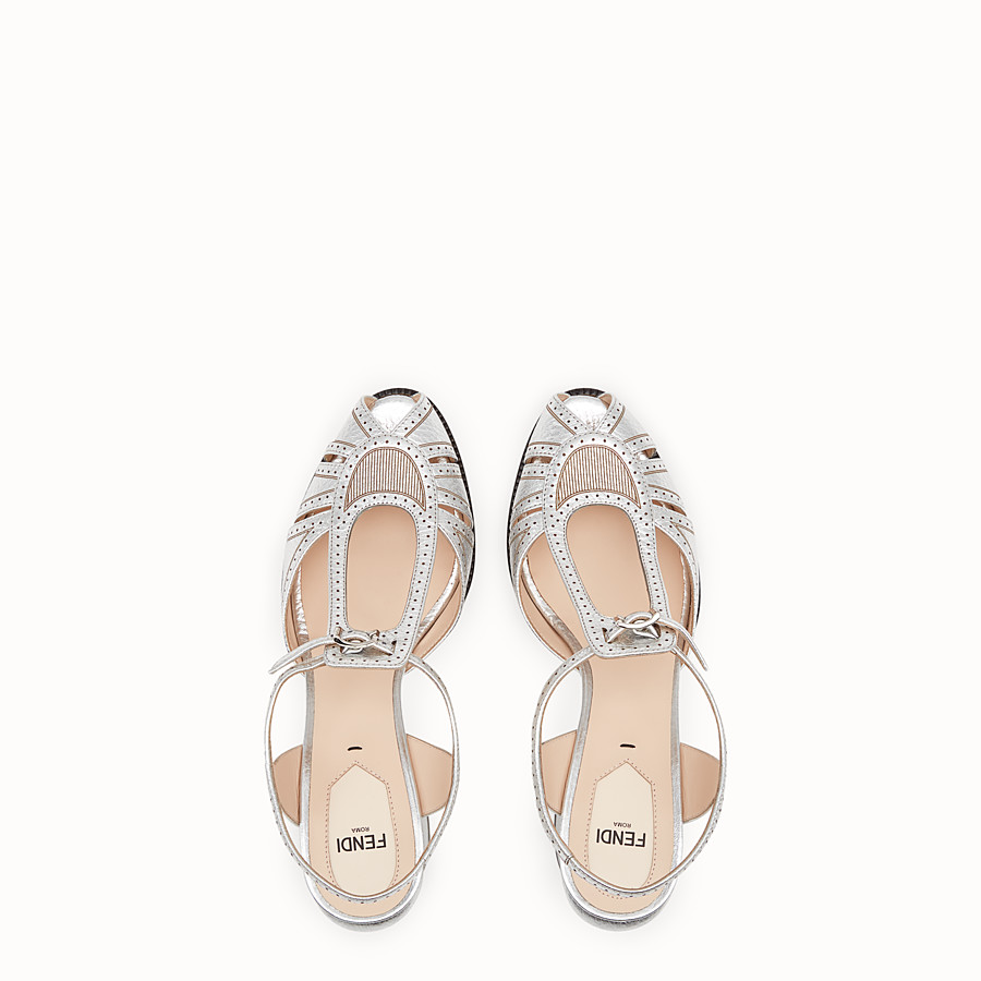 FENDI SANDALS - Sandals in metallised leather - view 4 detail