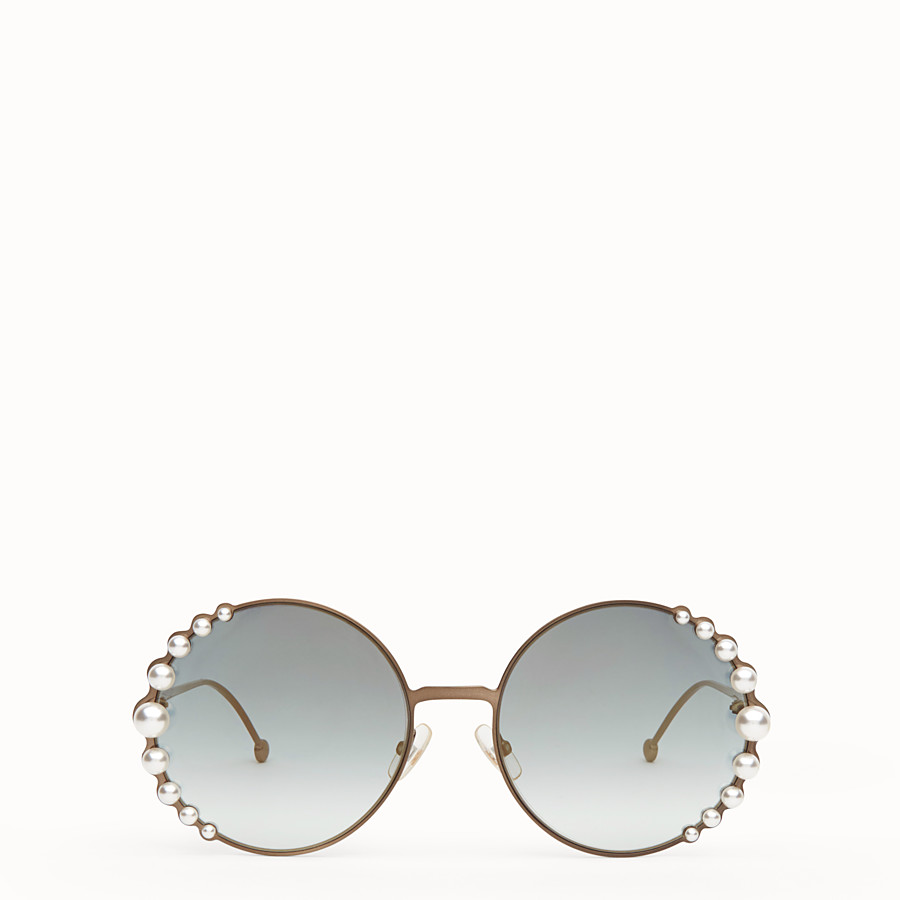 FENDI RIBBONS AND PEARLS - Bronze-colour sunglasses - view 1 detail