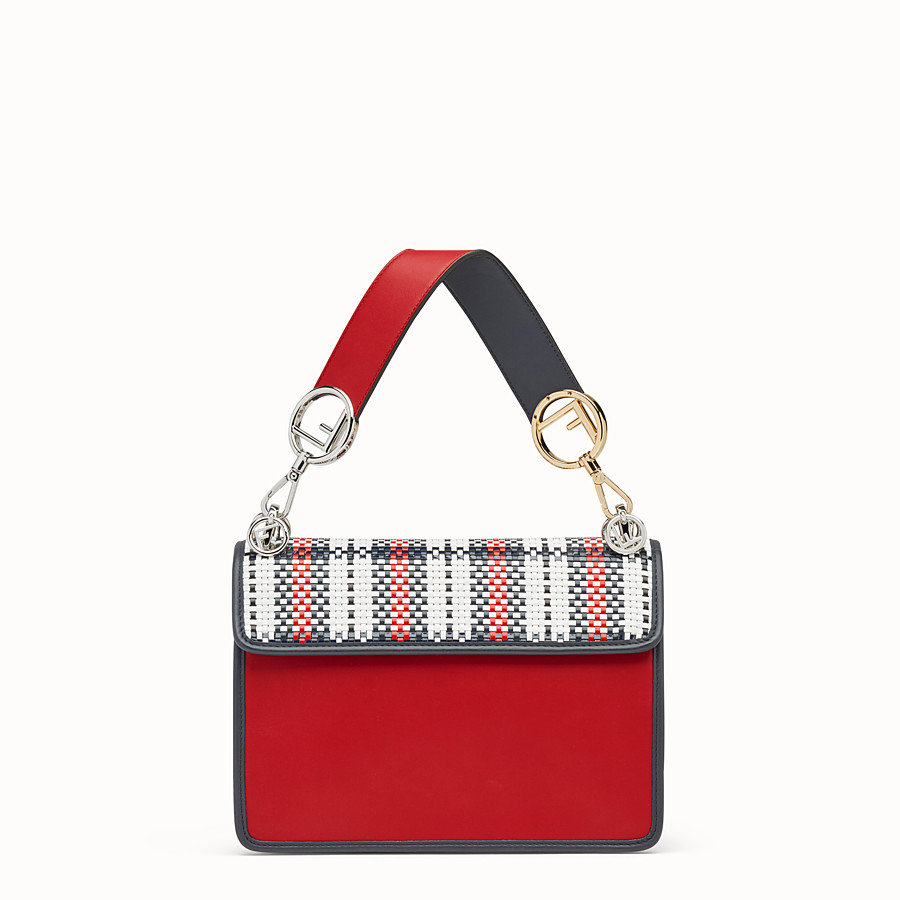 FENDI KAN I LOGO - Sac en cuir rouge - view 3 detail