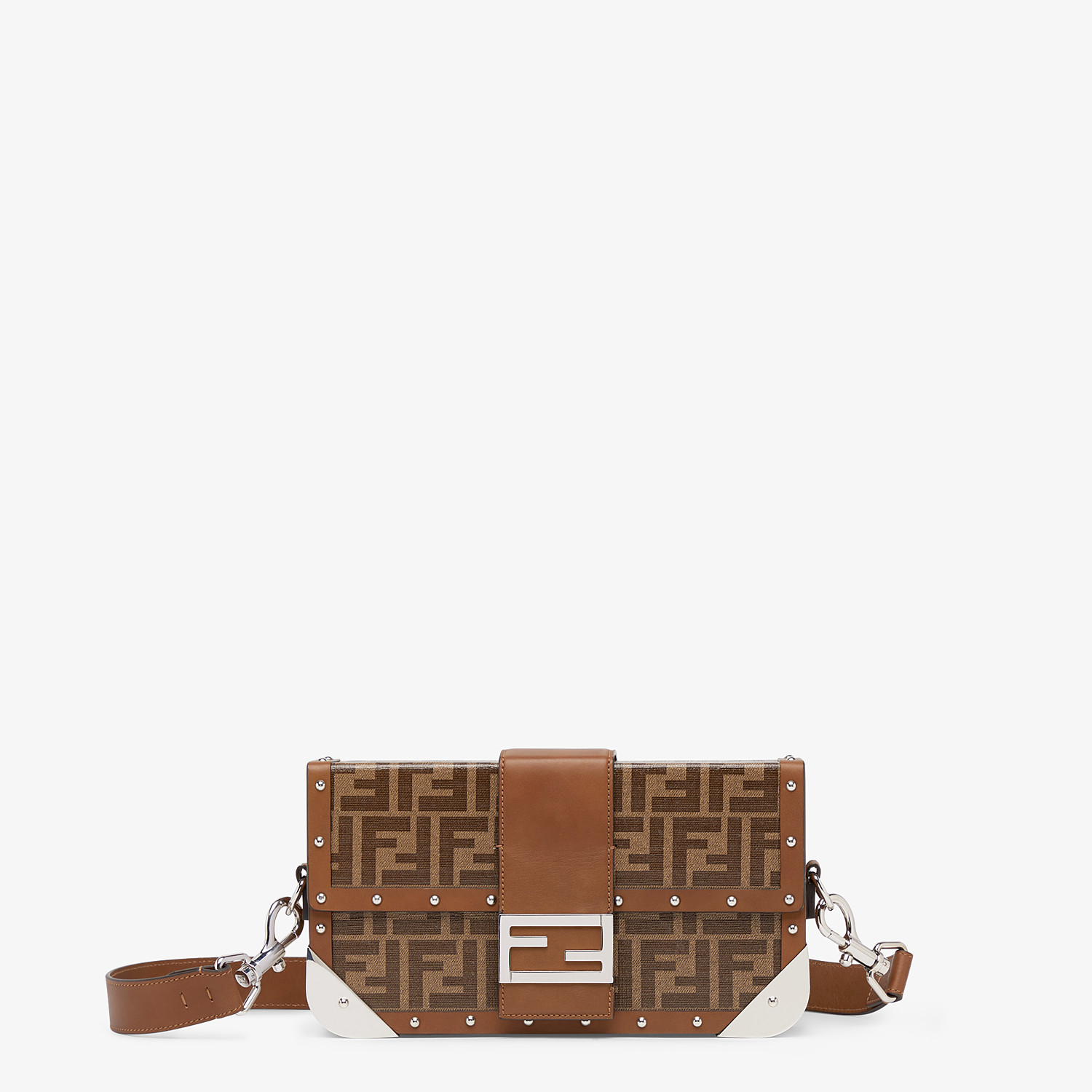 FENDI BAGUETTE TRUNK MEDIUM - Brown fabric bag - view 1 detail
