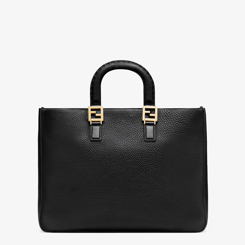 FENDI FF TOTE MEDIUM - Black leather bag - view 3 detail