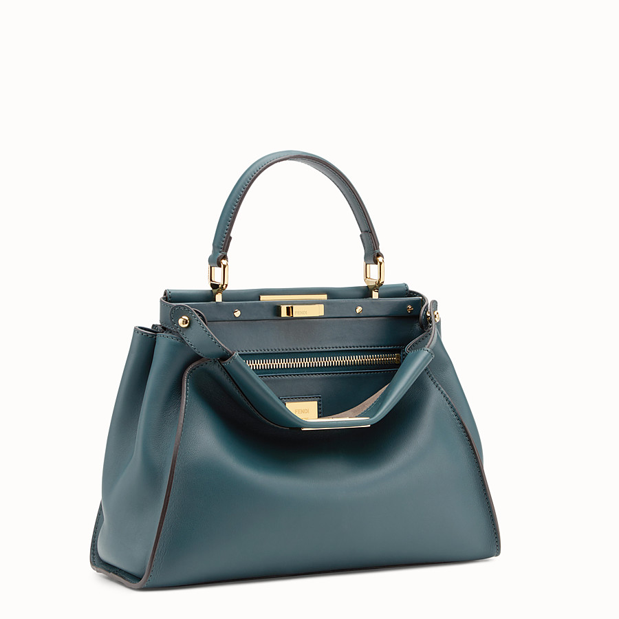 FENDI PEEKABOO REGULAR - Green leather bag - view 2 detail