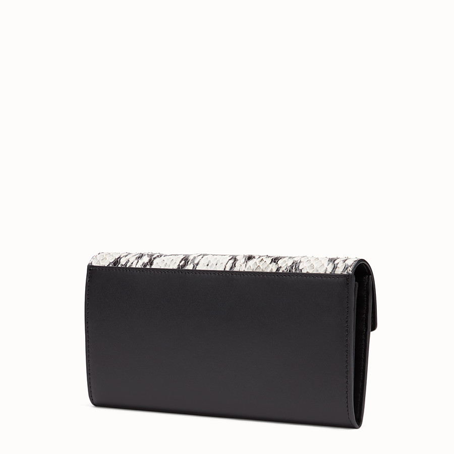 FENDI CONTINENTAL - Black leather wallet with exotic details - view 2 detail