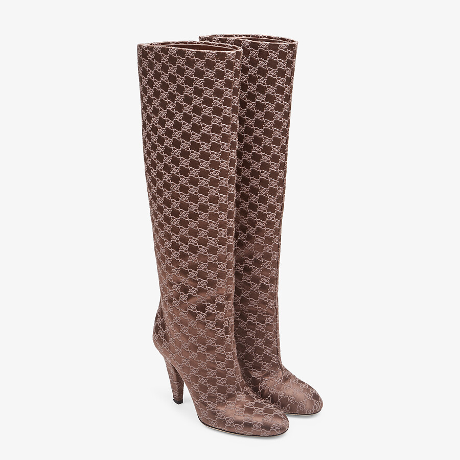 FENDI KARLIGRAPHY - High-heeled boots in brown fabric - view 4 detail