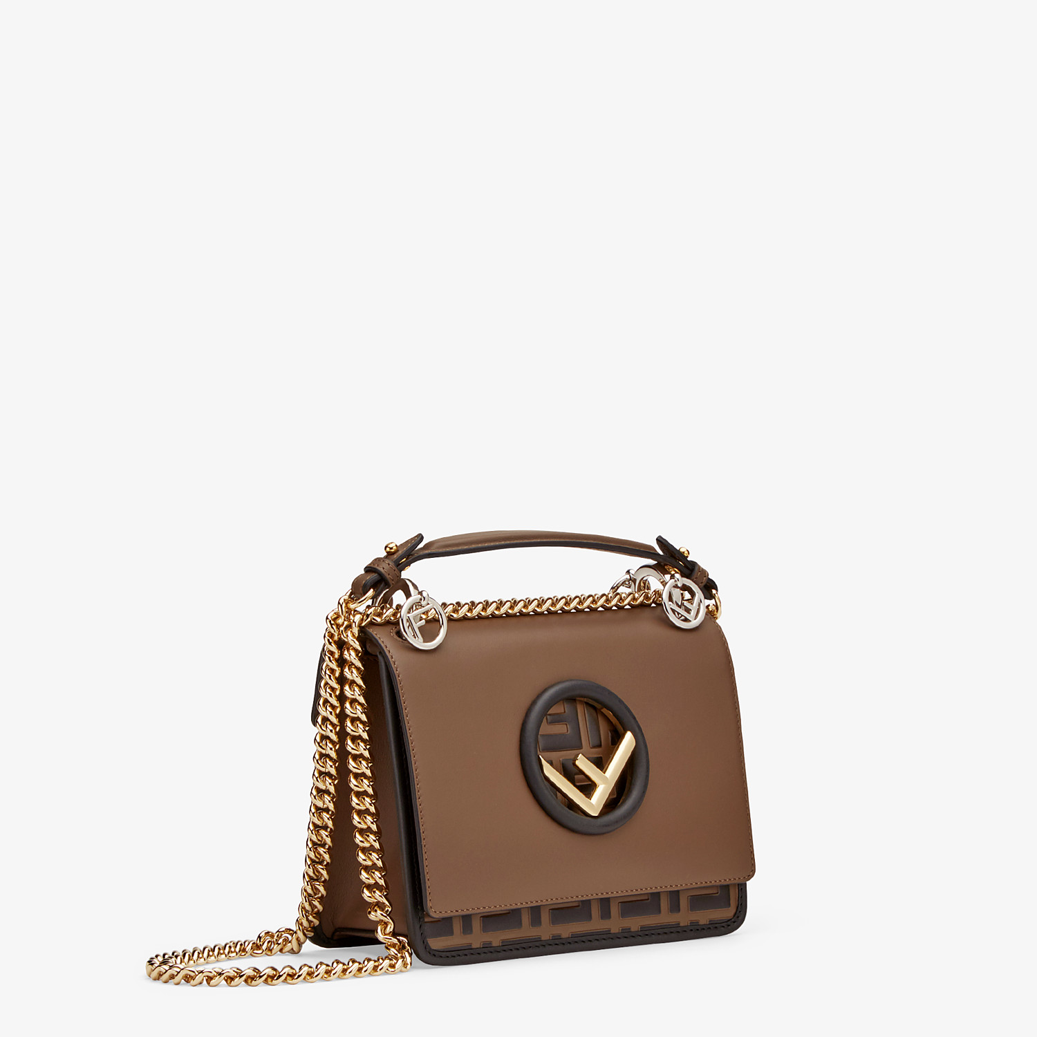FENDI KAN I F SMALL - Black leather mini-bag - view 3 detail
