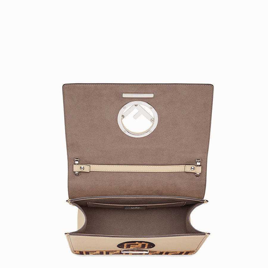 FENDI KAN I F - Beige leather and silk bag - view 4 detail