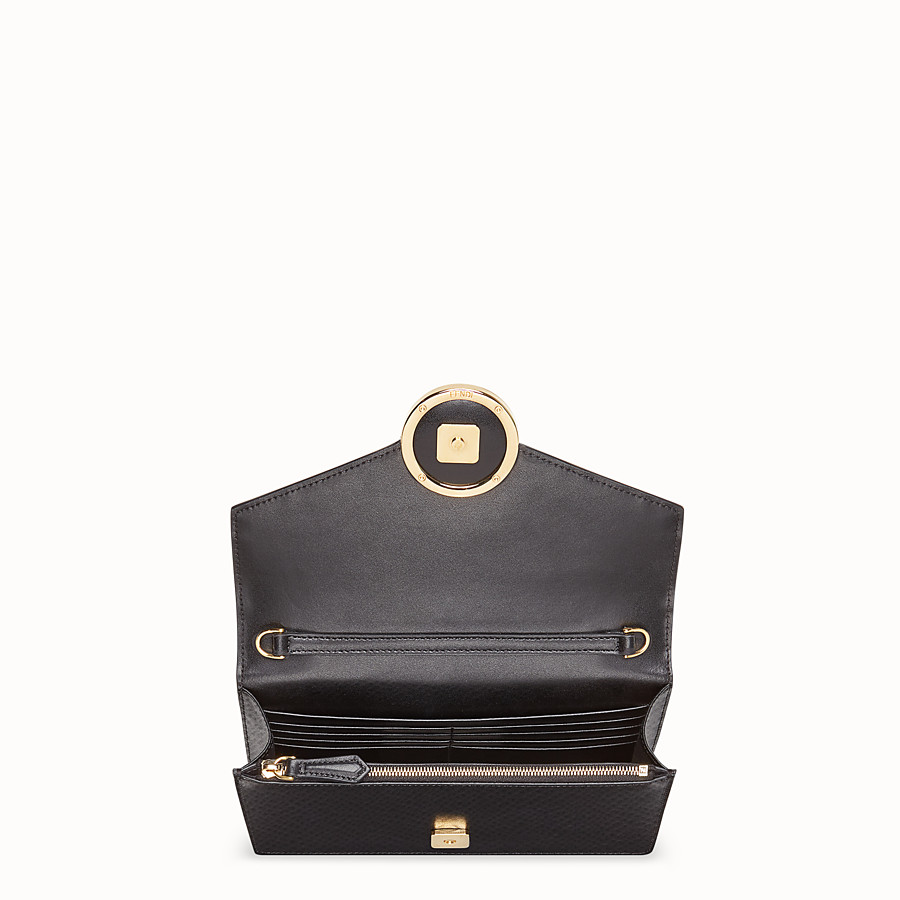 FENDI WALLET ON CHAIN - Black leather mini-bag - view 5 detail