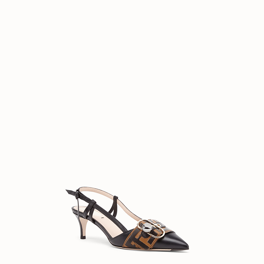 FENDI COURT SHOES - Black leather slingbacks - view 2 detail