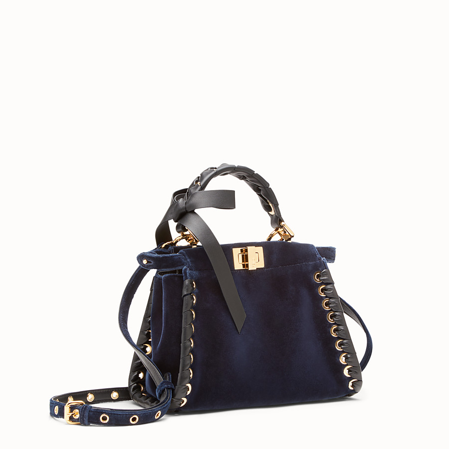 FENDI PEEKABOO MINI - Sac en velours bleu - view 2 detail