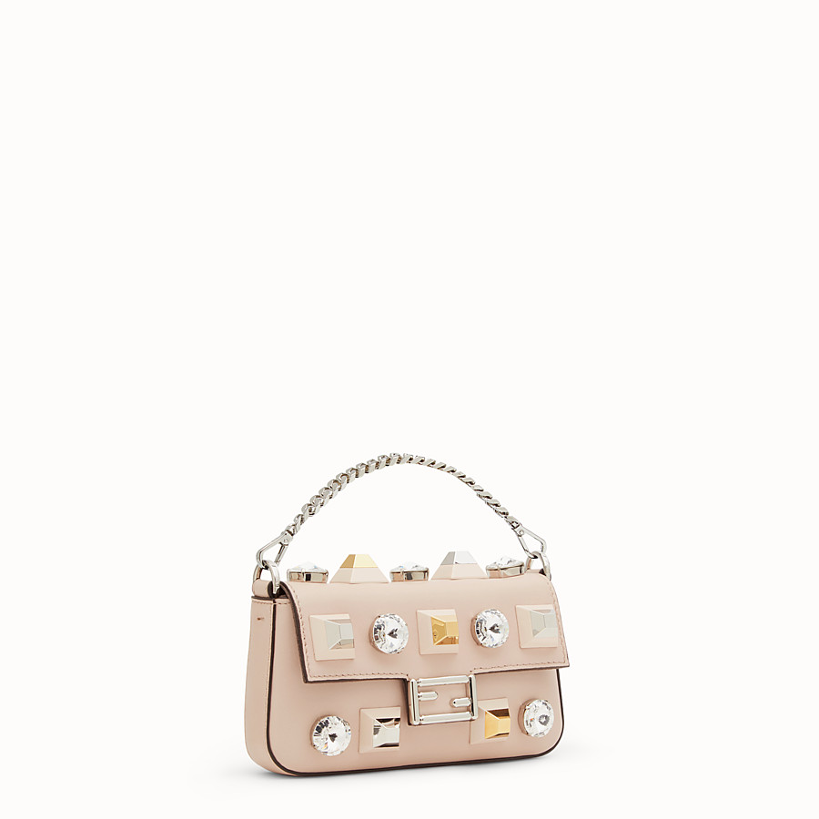 FENDI MICRO BAGUETTE - Microbag in pink leather with studs - view 2 detail