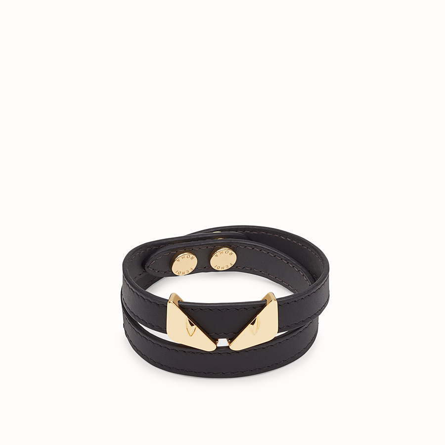 FENDI DOUBLE-WRAP BRACELET - Black bracelet - view 1 detail