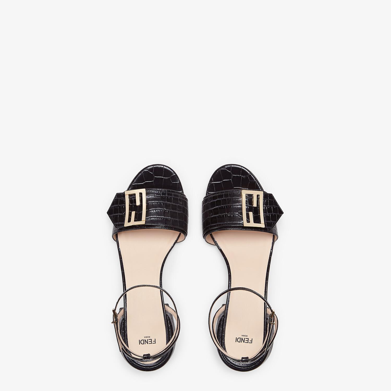 FENDI SANDALS - Black leather sandals - view 4 detail