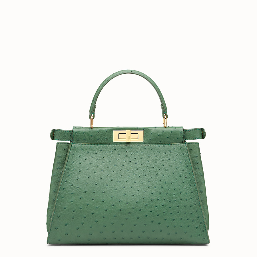 FENDI PEEKABOO REGULAR - Emerald green ostrich leather handbag. - view 3 detail