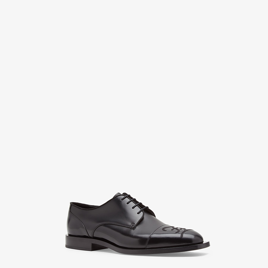 FENDI LACE-UPS - Black leather lace-up - view 2 detail