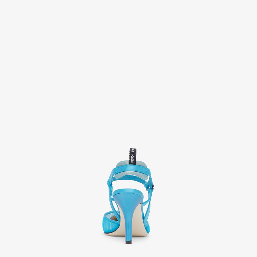 FENDI SLINGBACKS - Turquoise tulle and satin Colibrì slingbacks - view 3 detail